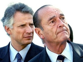 Jacques Chirac, président de la République française et son ministre des Affaires étrangères, Dominique de Villepin