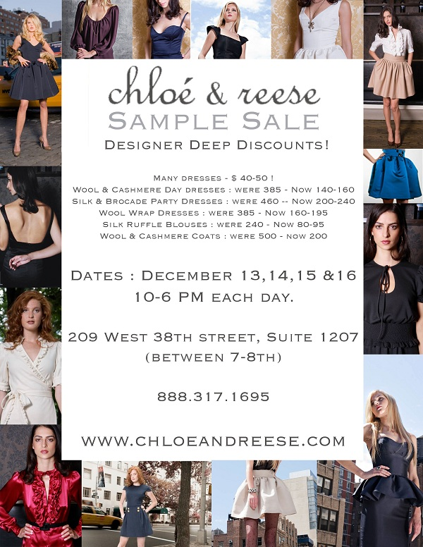 ZoeShopsNYC: Chloe & Reese Sample Sale 60% Off - 12/13-12/16