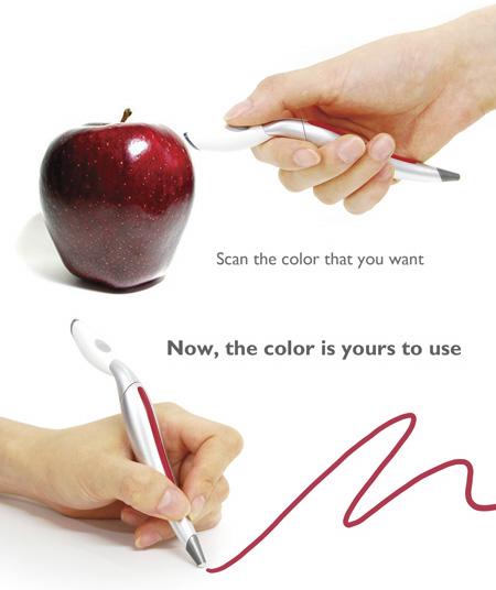Caneta conceito que reconhece cores