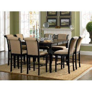 Home design 9pc calabasas square pub dining table w 8 for 9 piece dining room sets square