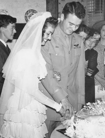 Wedding June 1945. Carter age 20. Pat age 19
