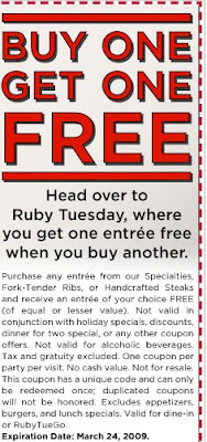 Ruby tuesday food coupons