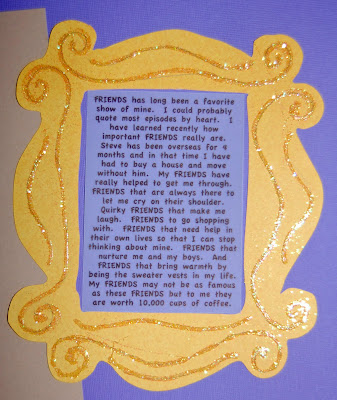 i decided to frame my journaling with the frame seen on the back of monicas door on the show i found an image of the frame online and used my scal program
