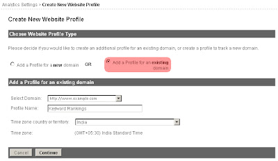 Create Profile Existing Domain in Google Analytics