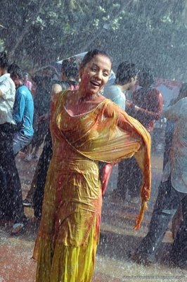 Celina Jaitley raindances during Holi celebrations