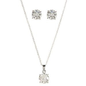 Sterling Silver Round-Cut Faceted Cubic Zirconia Set