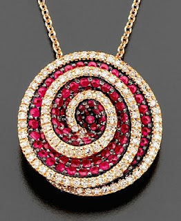 14k Rose Gold Pendant(Ruby and Diamond)