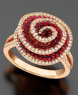 14k Rose Gold Ring(Ruby and Diamond)