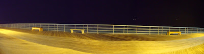 3 Picture Panoramic Image of the Board Walk over looking Jones Beach.