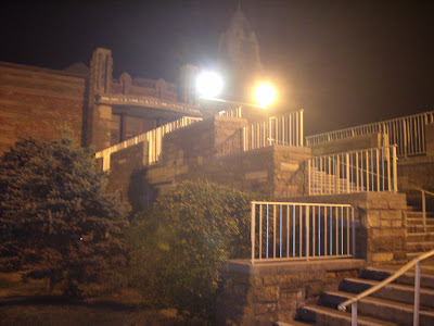 The stairs leading up to the 100 year old Ice Cream Parlor.
