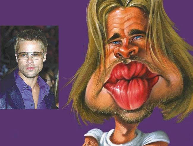 brad pitt caricature. House M D caricature by