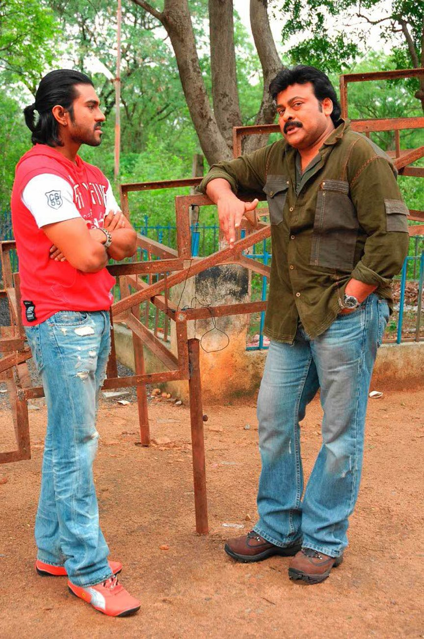 mega star chiranjeevi dancing with mega power star ram charan teja ...maghadeera