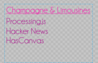 Champagne & Limousines Font in Processing.js