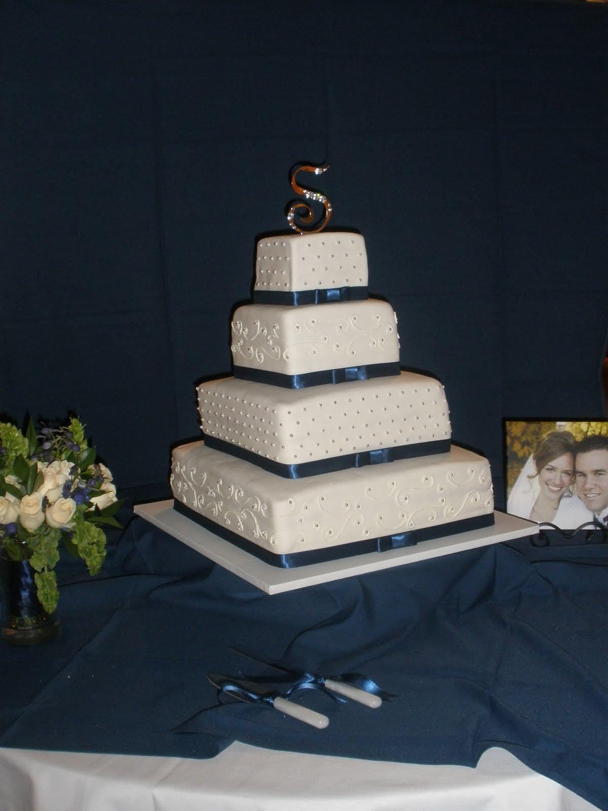 It s a piece of cake Silver & Blue Wedding Cake