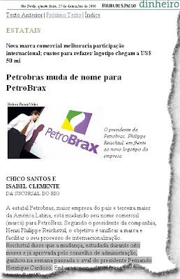 FHC transforma Petrobrás em PetroBrax em 2000 Folha