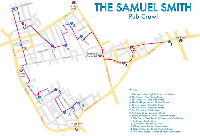 Beer and tic-tacs: The map for the Samuel Smith Pub Crawl