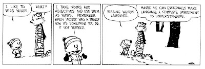 Calvin and Hobbes cartoon: verbing weirds language