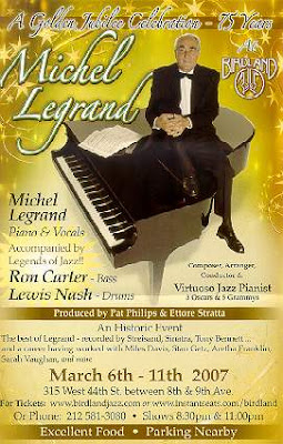 Flyer for Michel Legrand at Birdland
