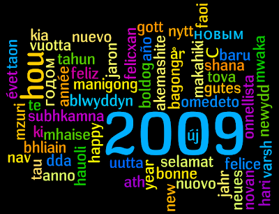 Multilingual 'happy new year' wordle