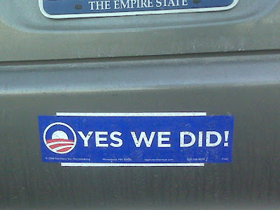 """Yes we did!"" bumper sticker"