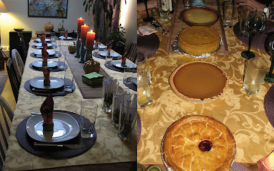 Thanksgiving table, before and after