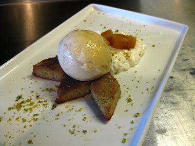 Coconut Rice Pudding, Pistachio Financier, Banana-pineapple Sorbet
