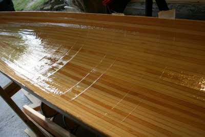 Wood Strip Kayak Fiberglass Resin Deck