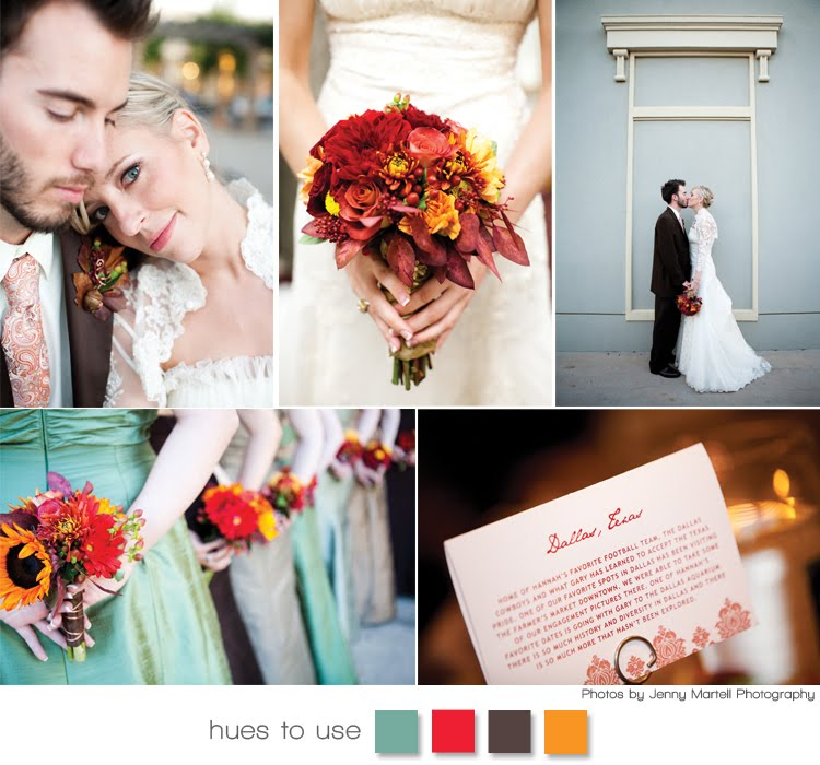 A Texas bride uses traditional red and yellow hues of fall with a tingle of