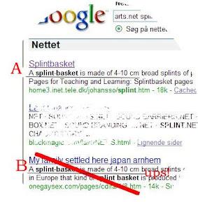 B: Misvisende link i Google
