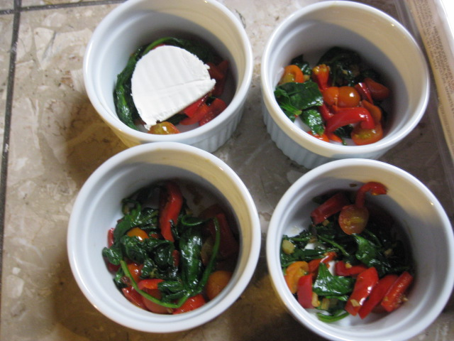 Buns in the Oven: Baked Eggs Over Goat Cheese, Spinach ...