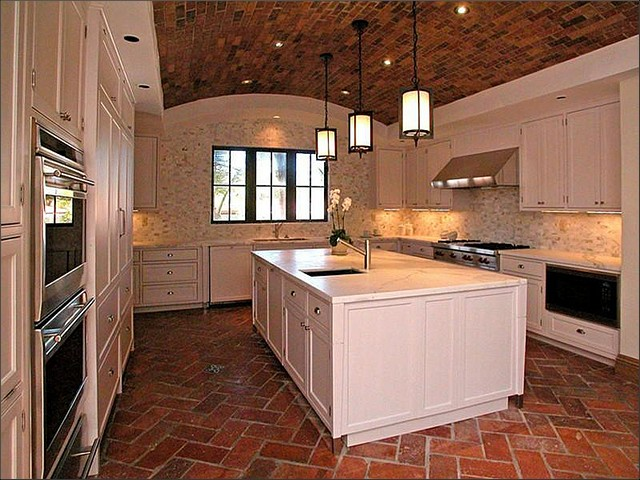 kitchen with brick floor - photo #3