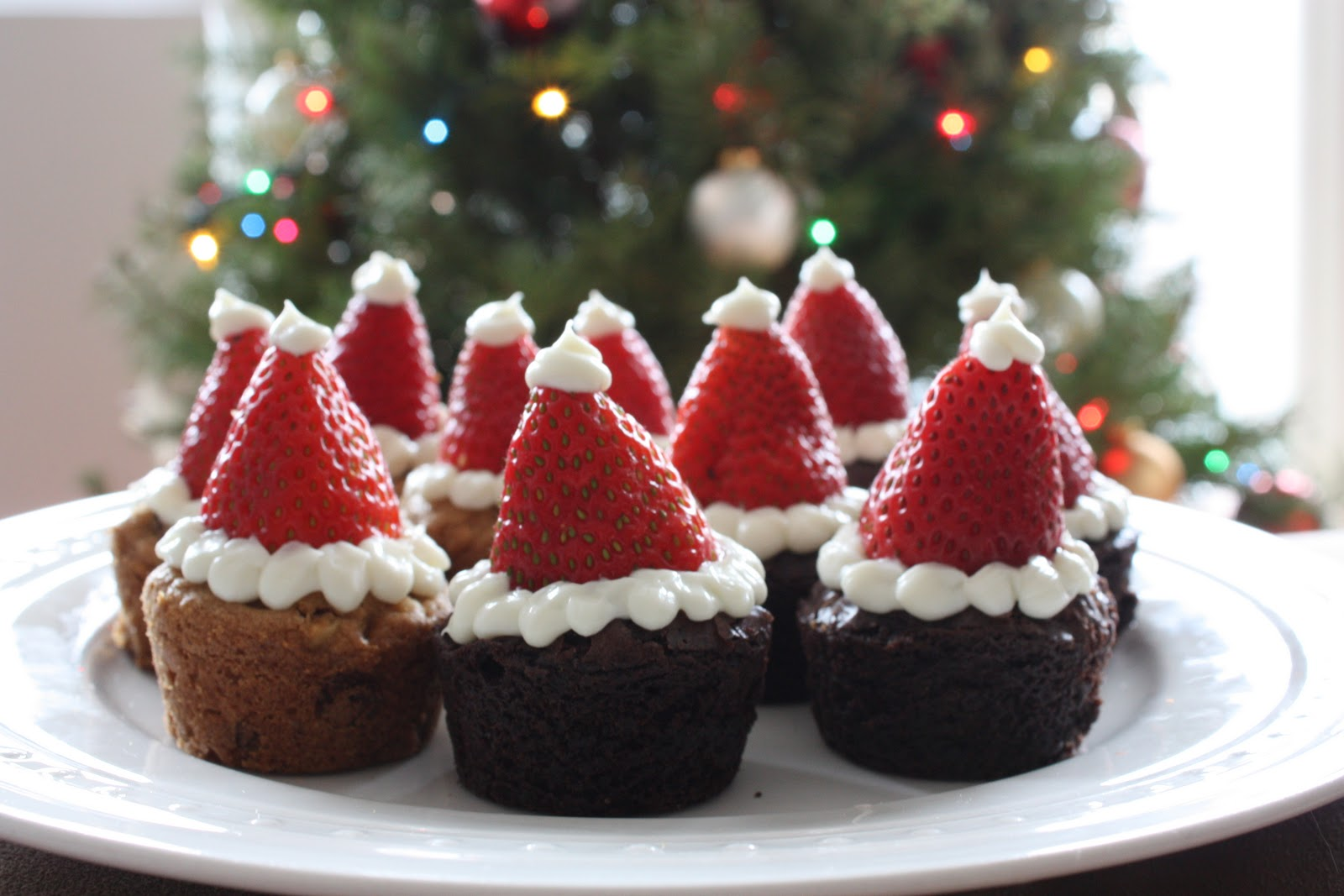Santa Hat Brownies And Blondies Get Off Your Tush And Cook