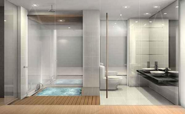 Glass window  bathroom