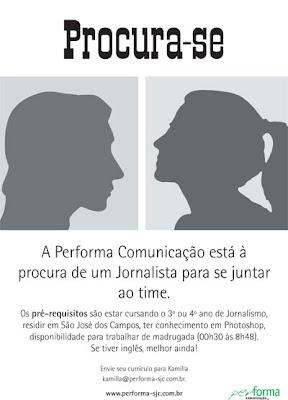 Performa Comunicação abre vaga de Jornalista. Blog Publiloucos.