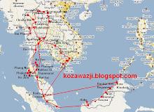 trasa podróży 17.11.2008-20.03.2009