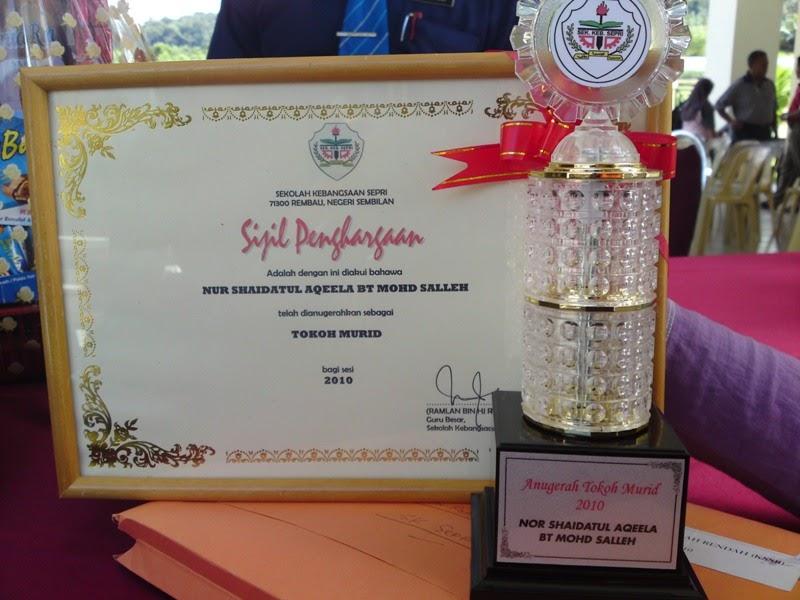 Sekolah Kebangsaan Sepri: Anugerah Tokoh Pelajar SK Sepri 2010