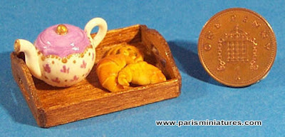 Emmaflam and Miniman - Handmade tea set with hand painted teapot, croissants, pain aux raisins and hand made wooden tray