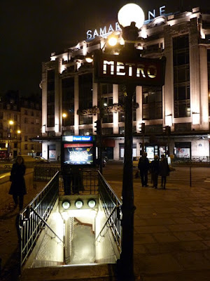The Pont Neuf Metro Station Illuminated at Night