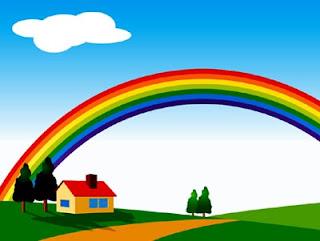 高原にかかる虹