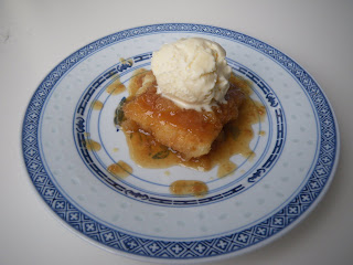 A Quebecois classic: a slice of pouding chomeur with homemade ice cream