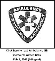 Ambulance NB Memo regarding the use of Winter Tires, February 1, 2008