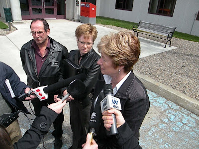 Delalene Harris Foran, Jean Yves Maillet and Vallie Stearns of CUPE at the Coroners Inquest, May 2009, Bathurst