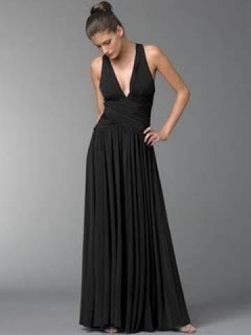 Vestido longo preto liso