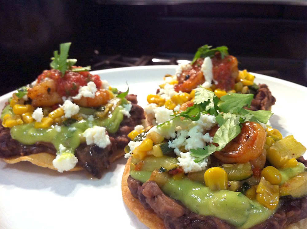 Black Bean Tostadas with Shrimp and Zucchini-Corn Relish