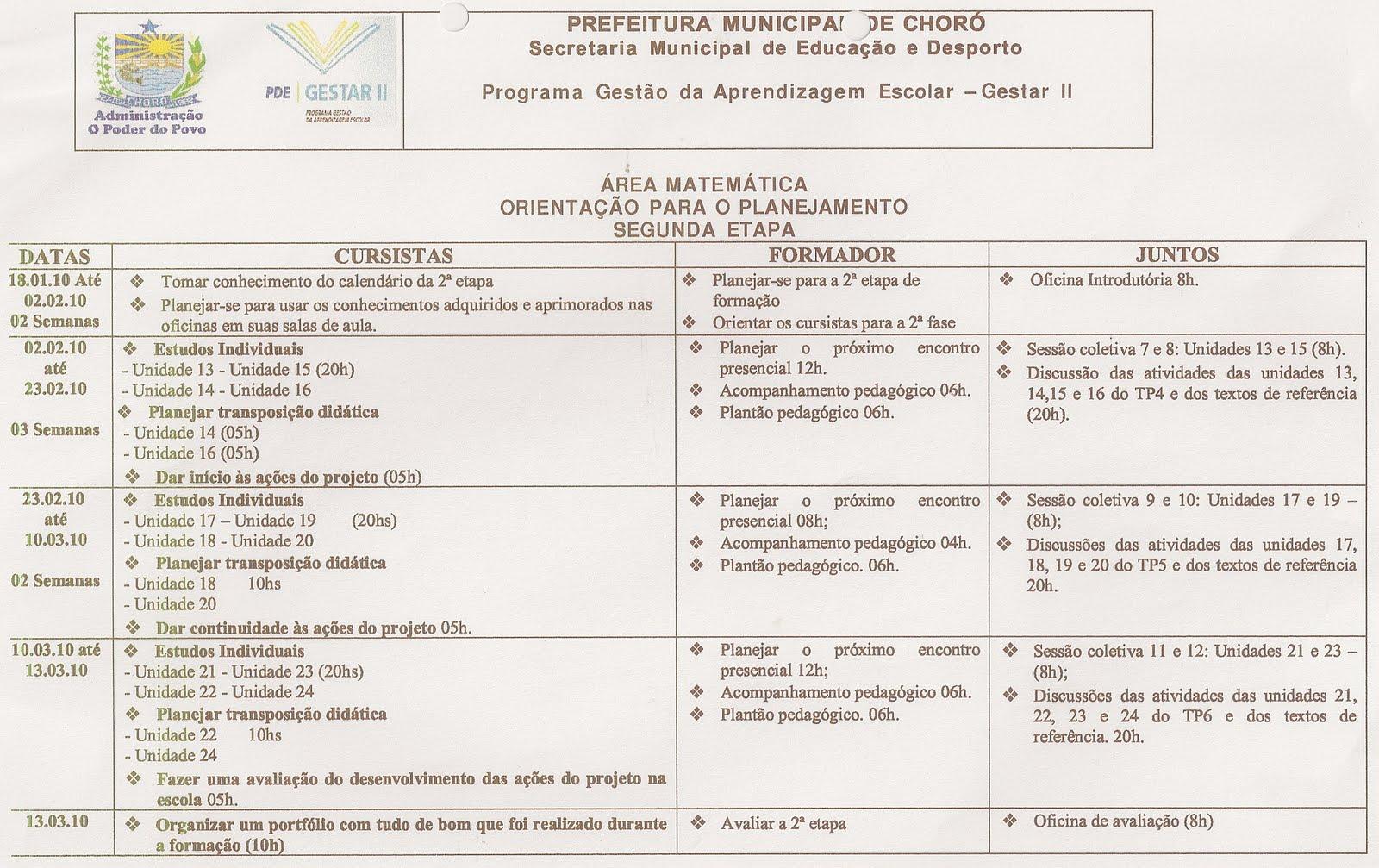 Orientação para planejamento 2ª etapa Matemática