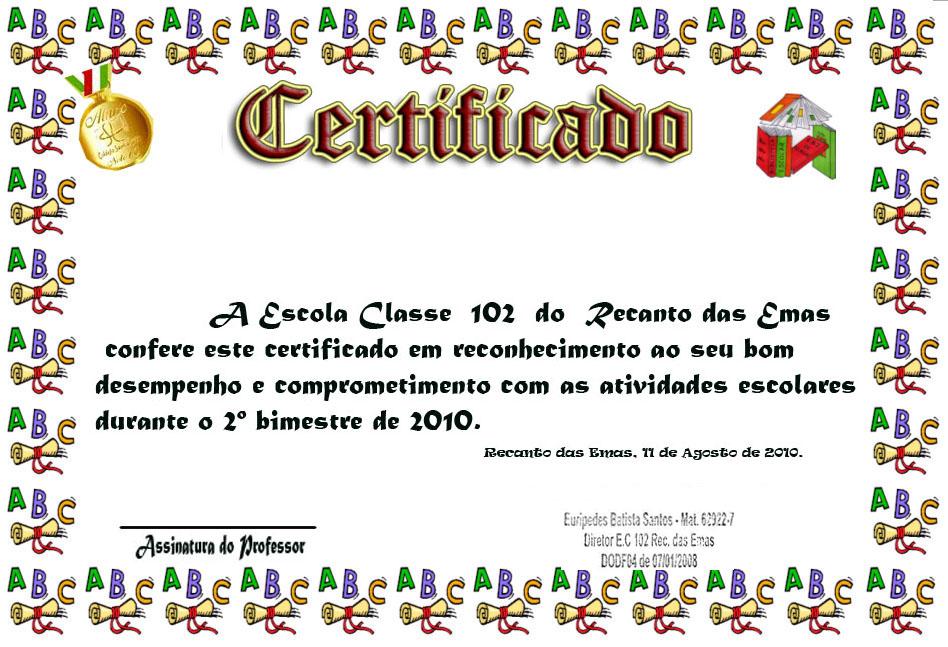 Certificado De Aluno Destaque De Conte  Doss