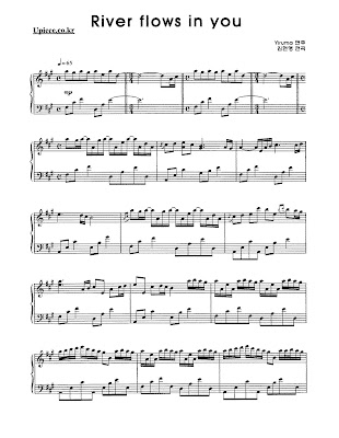 Sheet music river flows in you violin