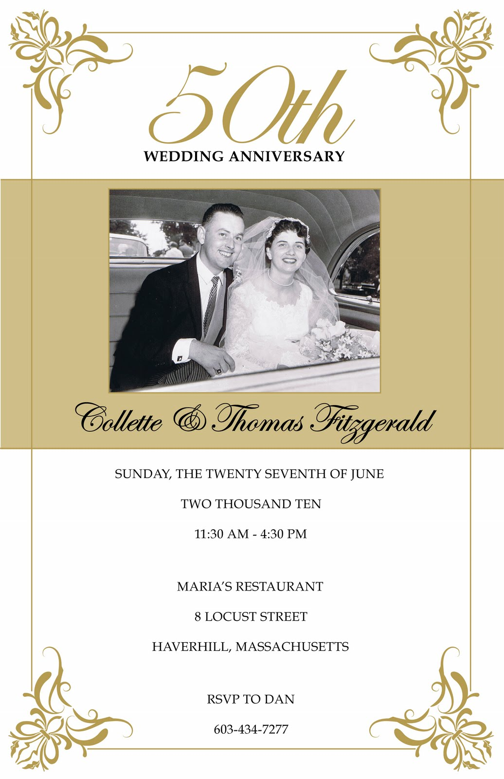 Annagraham design 50th anniversary - Wedding anniversary invitations ...
