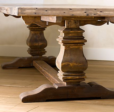 {trestle salvaged wood dining
