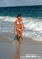 Kim K Use Polka Dot Beach Bikini in The Bahamas photos gallery
